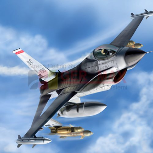 Uçak ve Gökyüzü Gergi Tavan Görselleri